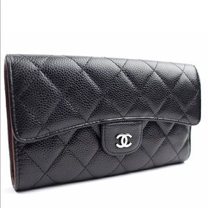 ❤️🛍 Authentic Chanel Caviar Flap Wallet Black SHW
